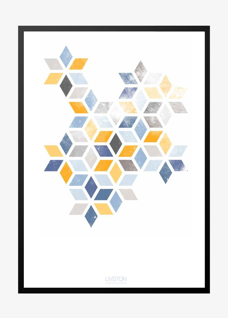 Abstrakt print | blue/yellow