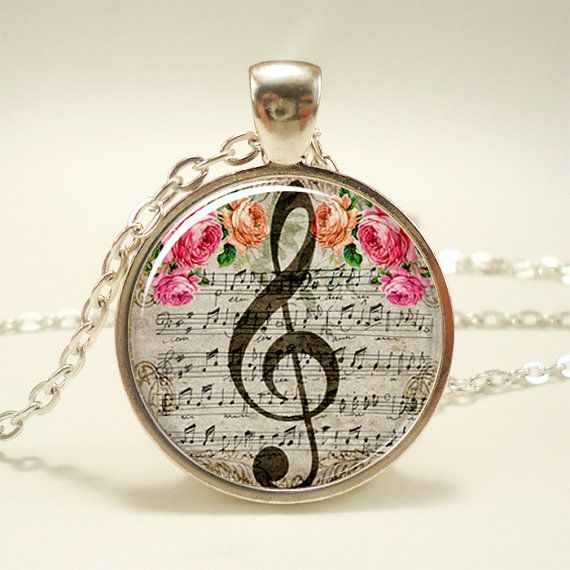 GClef Necklace Music Note Jewelry 1053S1IN by rainnua on Etsy, $14.45