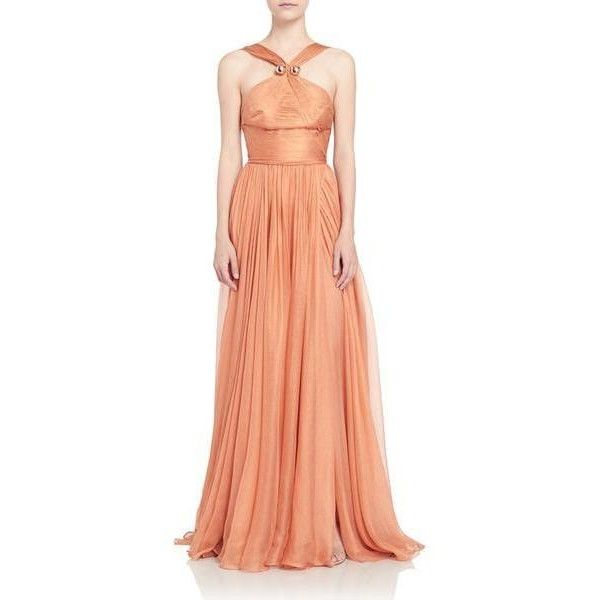 Maria Lucia Hohan Hazel Gown ($1,495) ❤ liked on Polyvore featuring dresses, gowns, gold, gown, embellished gown, red sparkly dress, red ruched dress, ruching dress and wrap gown