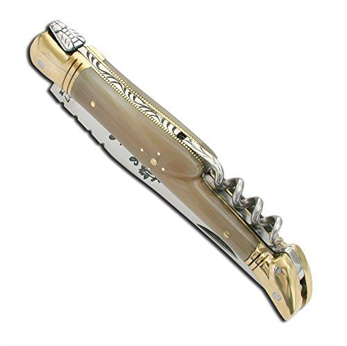 Laguiole pocket knife with Blonde Horn handle and brass bolsters, corkscrew – Closed size – 12 cm direct from France