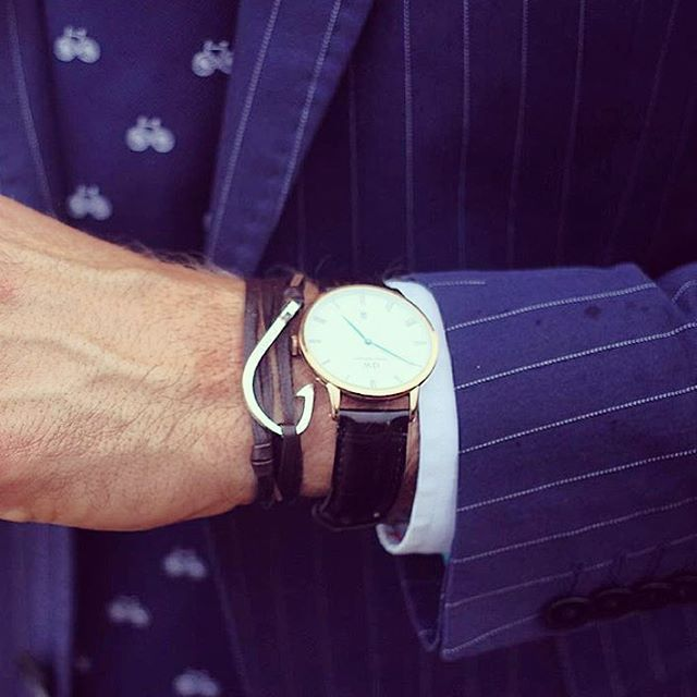 The always #dapper @shaunbirley adding nautical flair to his pinstripe #suit with #TheDansk hook bracelet from @dappervigilante.  Get yours today from bit.ly/DapperVigilante.  #DapperVigilante