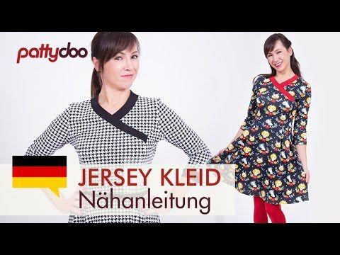 Jerseykleid mit Ausschnitt im Kimono-Stil und Rockteil mit Falten nähen - YouTube