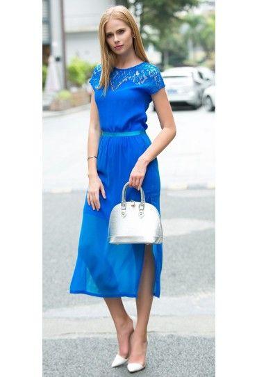 #Rochie #casual de vara, din doua piese. Poate fi purtata atat ca rochie scurta, cat si ca rochie lunga cu fusta din voal.
