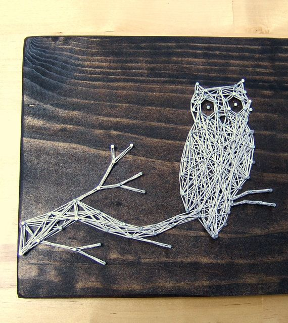 Modern String Art Wooden Tablet  Owl SIlhouette by NineRed on Etsy, $30.00