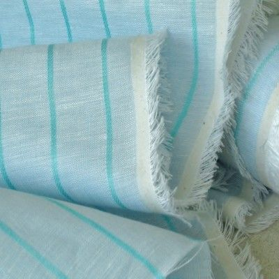 Pale Sky & Turquoise Stripe Linen