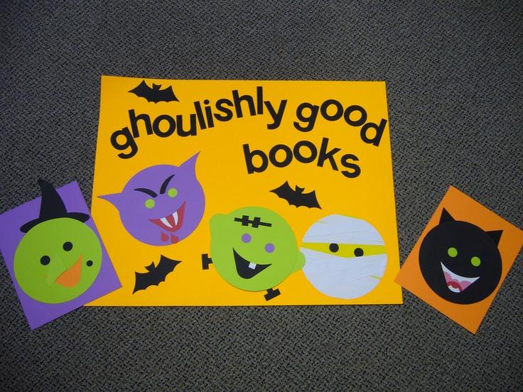 """Goulishly Good Books"" library bulletin board"