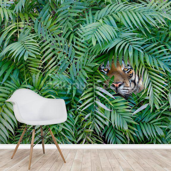 Tiger Hide And Seek Wall Mural Wallsauce Us Palm Trees Wallpaper Jungle Wallpaper Tree Wallpaper