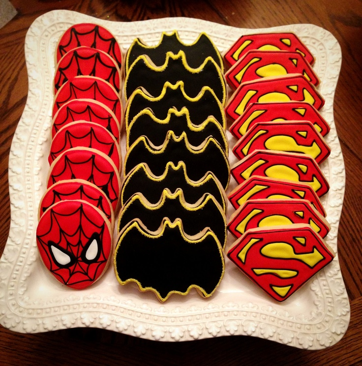 12 Super hero Cookies: Batman, Spider-Man, Superman