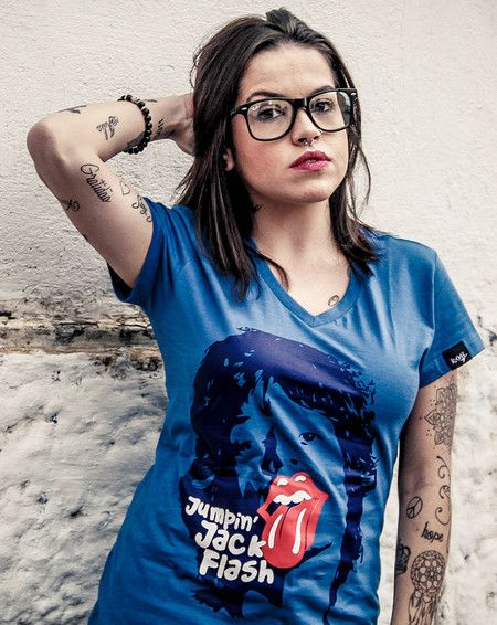 "Camiseta Feminina - Mick Jagger - ""Jumpin´Jack Flash"""
