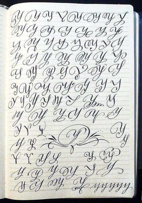 Majuscule Y variants by Polish calligrapher Barbara Galinska on Behance