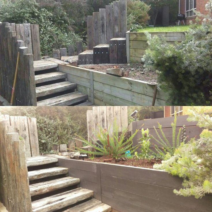 Painted retaining walls charcoal. Plants establishing, 10 months. Railway sleeper stairs.