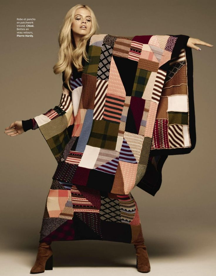 "Beautiful patchwork! ""Memories"" Hailey Clauson for Grazia France - Chloe"