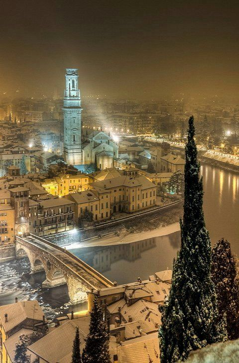 Winters night over Verona, Italy