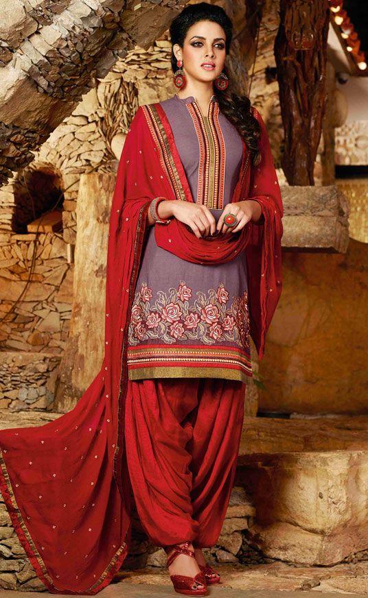 USD 31.68 Light Violet Cotton Punjabi Suit 44846