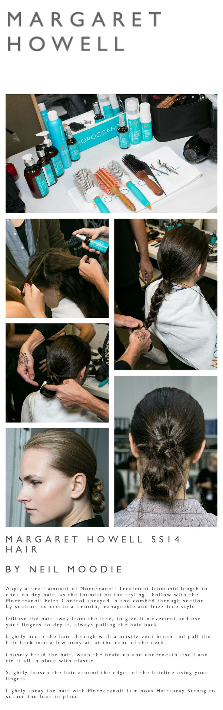 How to do a braided bun hairstyle using Moroccanoil products - seen at Margaret Howell SS14