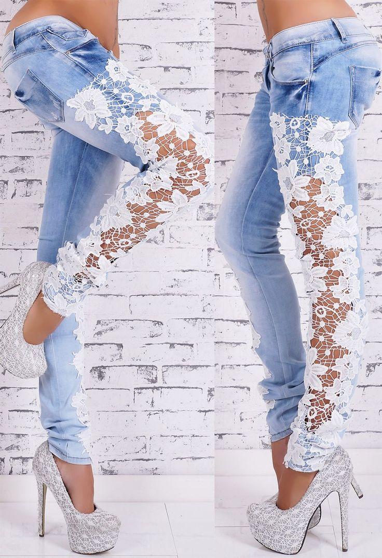 Dámské džíny s krajkou