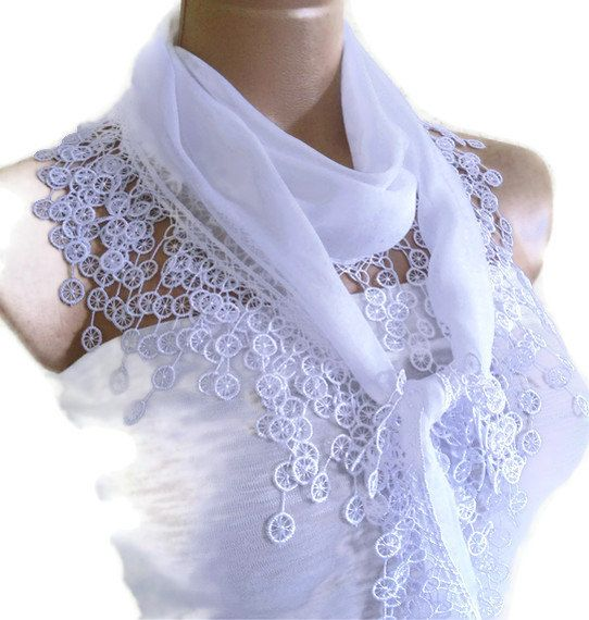 Traditional Turkish-style, Necklace scarves,Headband, scarf, White,  fashion 2012, Special Fahion, spring celebration on Etsy, $14.99