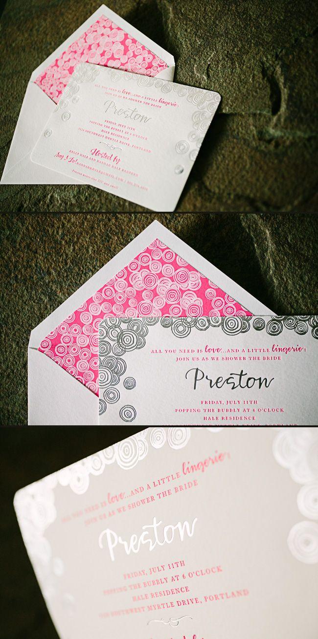 bridal shower invitations registry etiquette%0A These silver foil   neon pink letterpress lingerie bridal shower invitations  were created for a tasteful