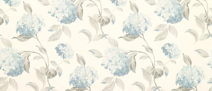 Hydrangea Duck Egg Floral Wallpaper at Laura Ashley