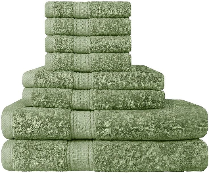 8 Piece Green Towel Set Bathroom Utopia Towels New Free Shipping #Utopia
