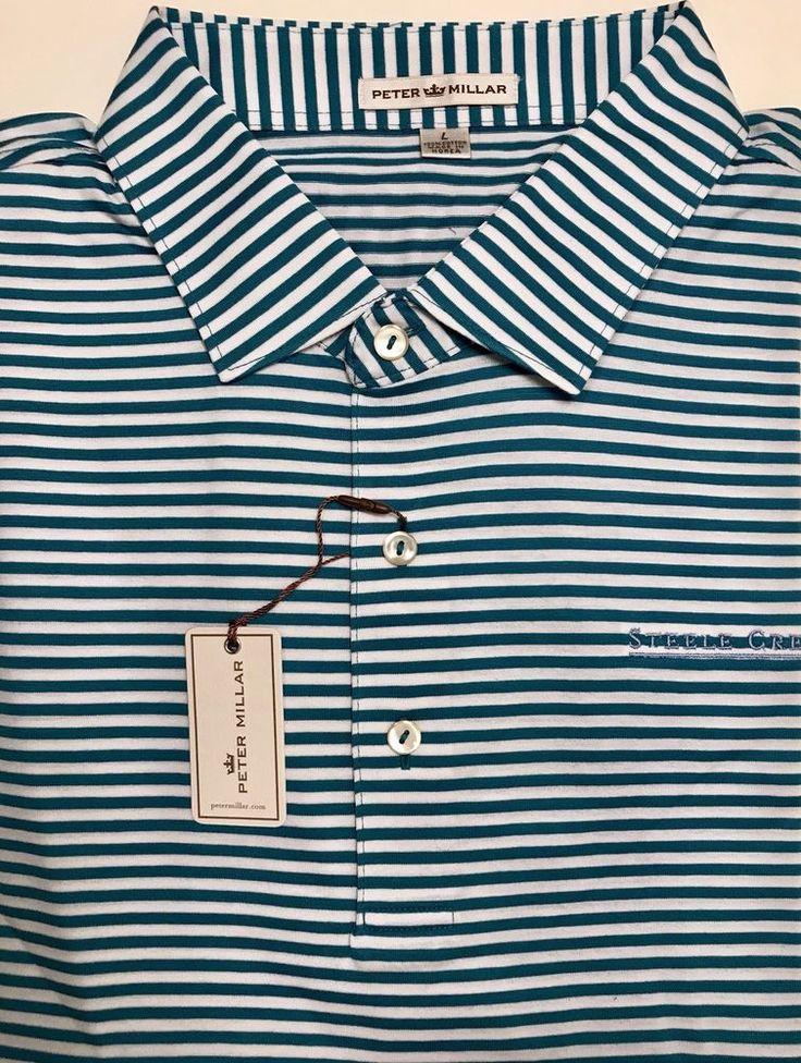 Peter Millar Blue White Striped Steele Creek Logo Cotton Golf Polo Shirt Size L  | eBay