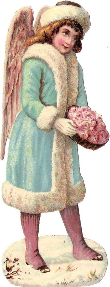Oblaten Glanzbild scrap die cut chromo Winter Engel angel XMAS Schnee snow coat: