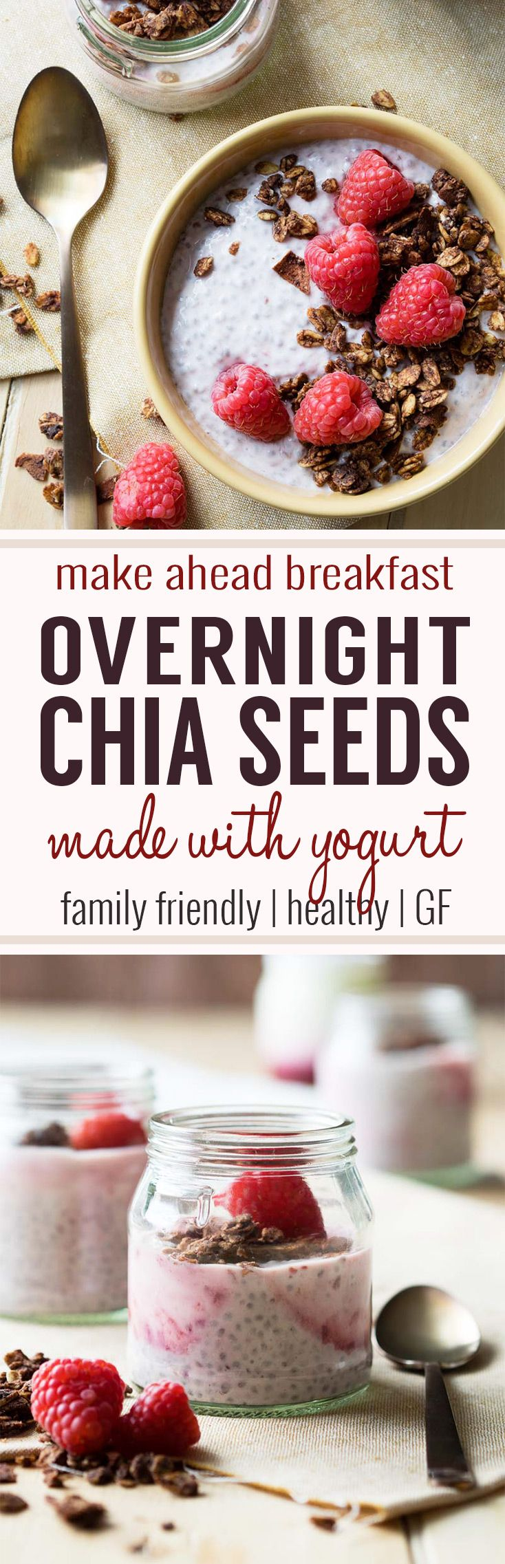 Overnight Chia Seeds in Yogurt (GF) - a healthy and delicious breakfast. If you can keep your eyes open for an extra 30 seconds before bed, put yogurt, milk and chia seeds in a bowl, give it a stir, and place it in the refrigerator. As you get your sleep, the chia seeds do their magic and transform into a nourishing breakfast for the entire family. #healthybreakfast #chiaseeds #chiaseedpudding