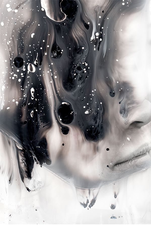 Januz Miralles - Photograph through glass with water poured over the surface of the glass as the portrait is shot. Squash ink, oil and water between plastic sheets. Photograph your model through the plastic.