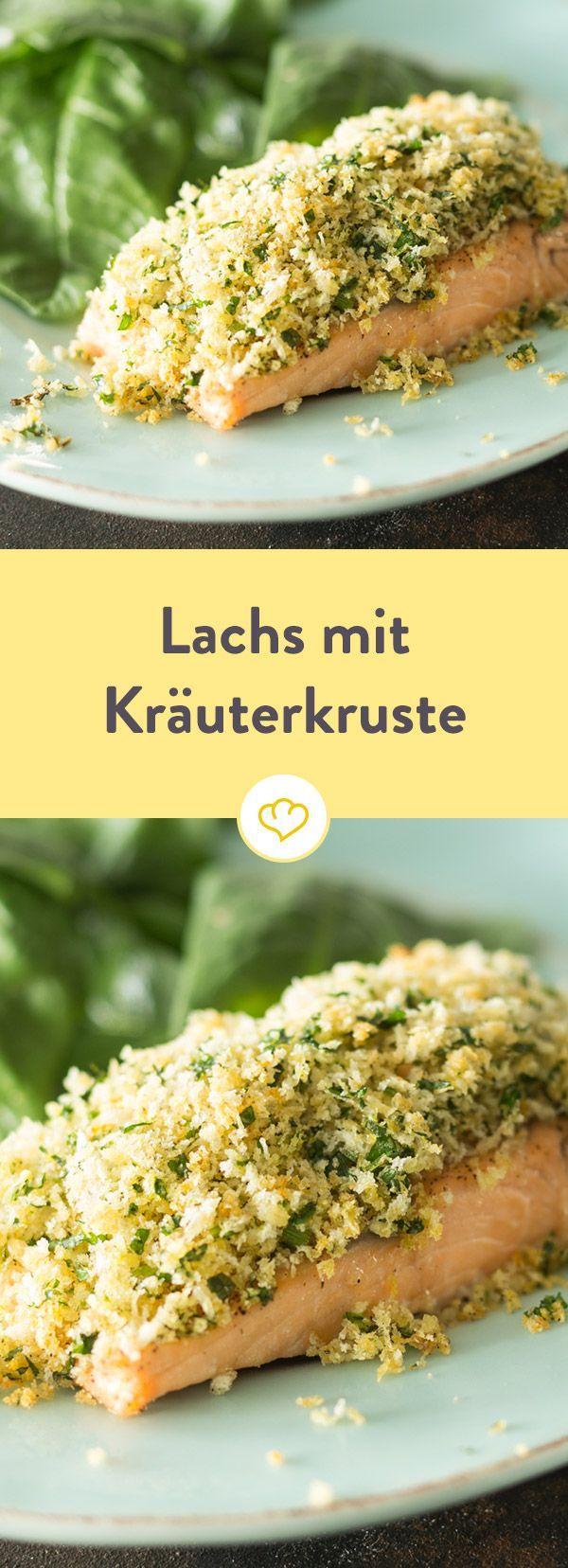Lachs mit Kräuterkruste und Spinatsalat