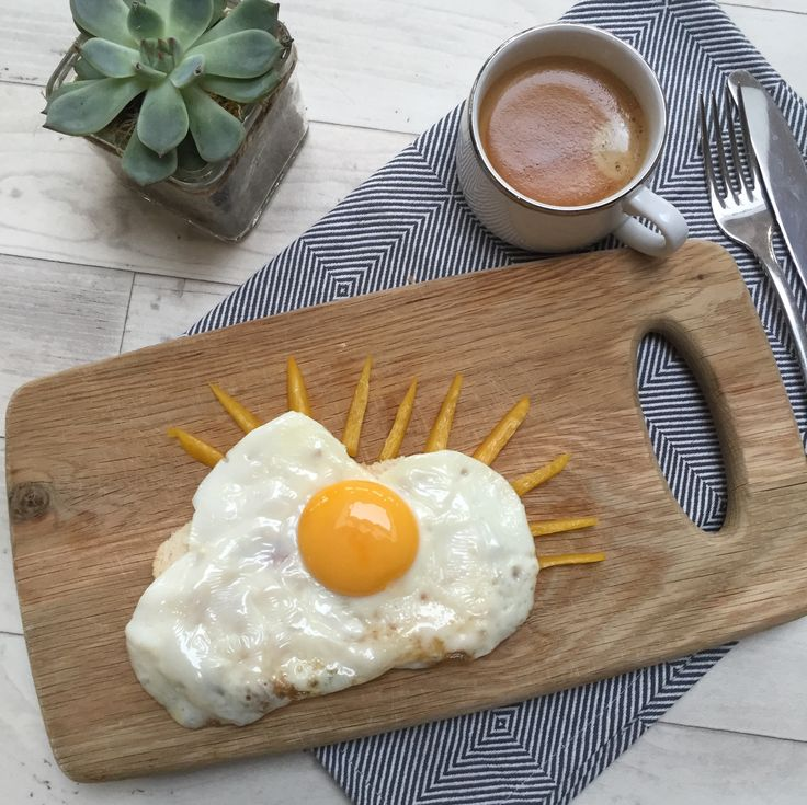 Cloud and Sun eggs.  Sunny Side up breakfast From the PaintSewGlueChew instagram feed.