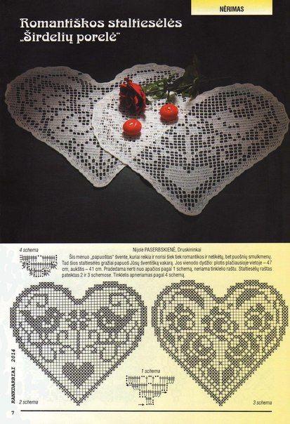mis pasatiempos amo el crochet¡¡¡¡:): Servilletas Hearts # tejer crochet #