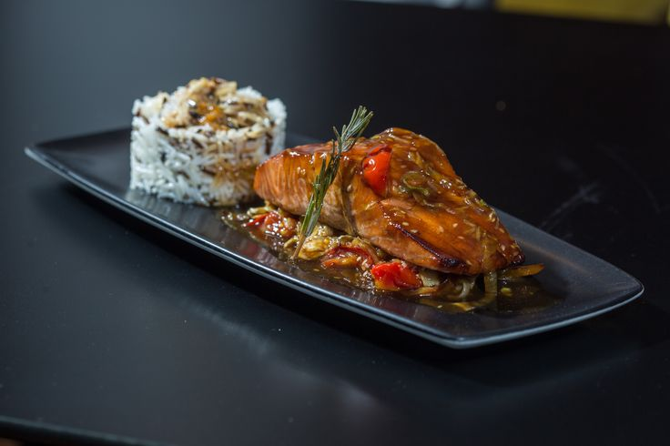 Salmon fillet marinated & baked in a teryaki sauce in a Japanese recipe with wild rice & vegetables.  #anatoliagastronomy