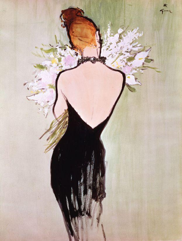 """""""Diorissimo"""", illustration réalisée par René Gruau en 1956 http://www.vogue.fr/thevoguelist/dior/150#"""