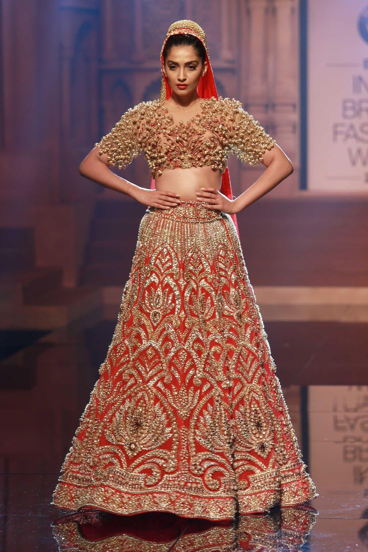 Actress Sonam Kapoor Walks The Ramp Displaying A Bridal Outfit From Latest Collection Of Indian