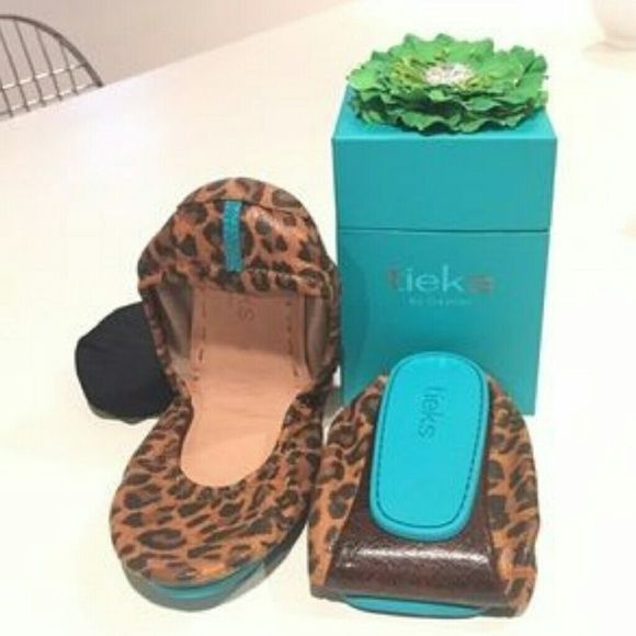 Leopard tieks trade only for unmellow yellow tieks Only worn once.  Picture is from internet, not at home now to take actual picture.  In like new condition worn once size 8.  Listed for trade only for unmellow yellow tieks size 8.  Not for sale, otherwise. Tieks Shoes Flats & Loafers