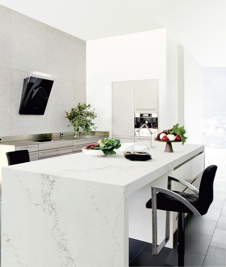 Kitchen Marble Worktops: Statuario Effect Quartz. This Marble Effect Quartz Is Right On Trend And Is Ideal For Kitchen