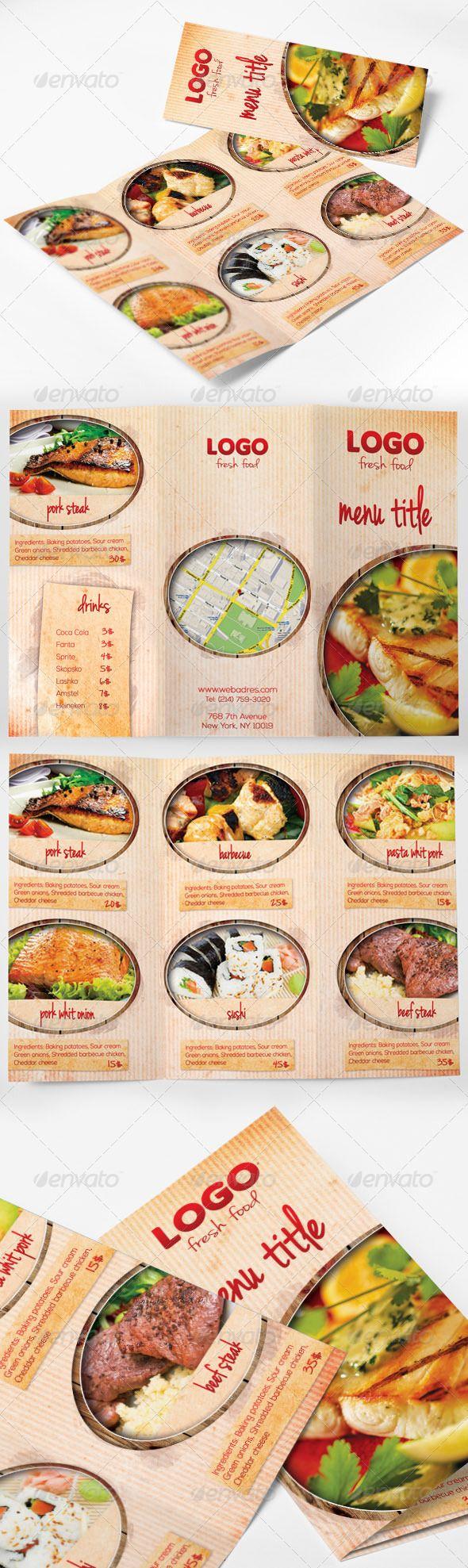 Food Menu Tri-fold Brochure #psd #foodmenu #trifold #restaurant