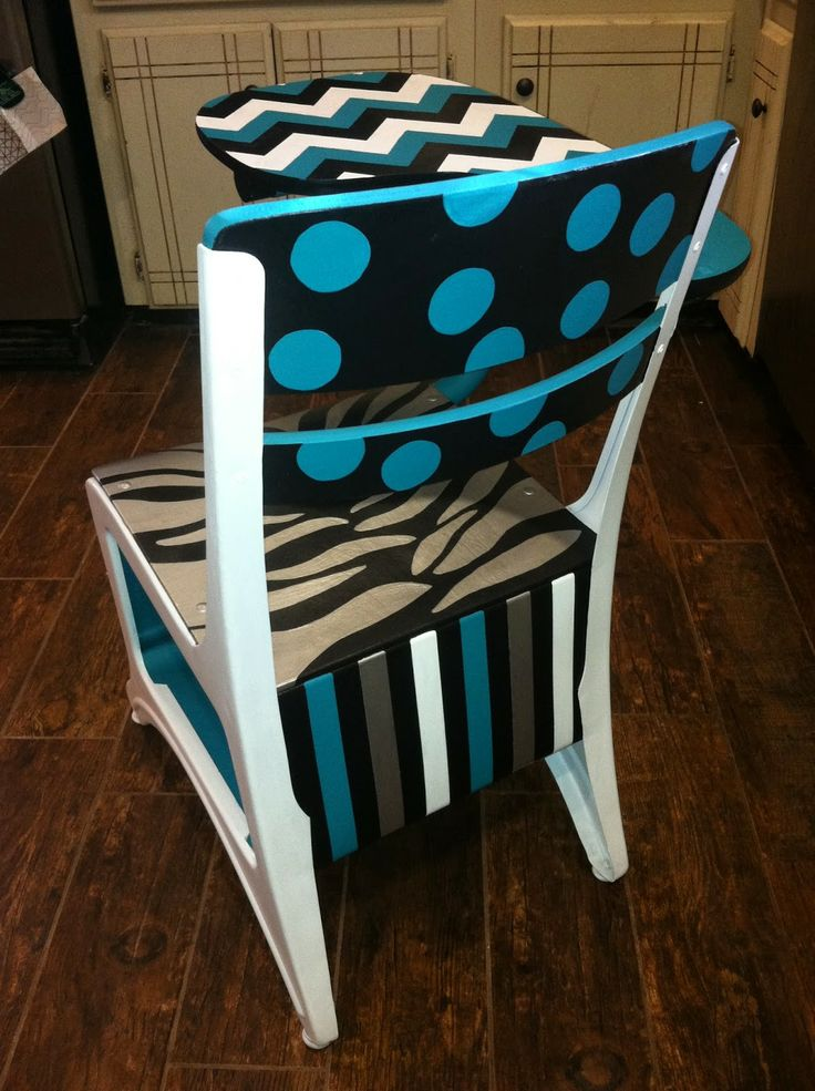 Rustic Rehab: Painted old school desk, turquoise, black, white, silver, zebra print, chevron, stripes,