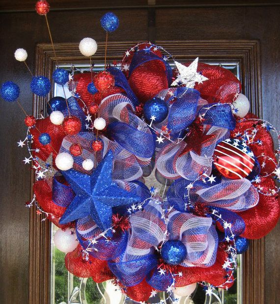 rwbStripes Patriots, Deco Wreaths, Red White Blue, Patriots Wreaths, 4Th Of July, July 4Th, Mesh Stars, Deco Mesh Wreaths, Blue Wreaths
