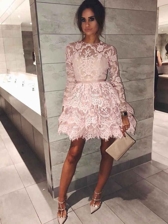 Long Sleeve Homecoming Dresses Aline Lace Chic Short Prom Dress Party Dress JK694