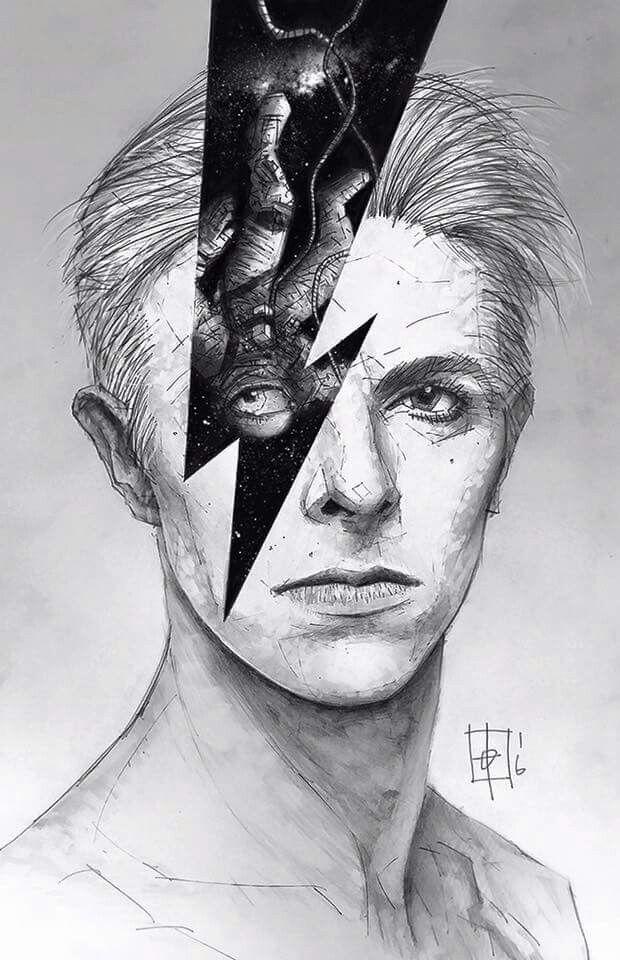 David Bowie, Ziggy Stardust fan art, illustration, pop art.