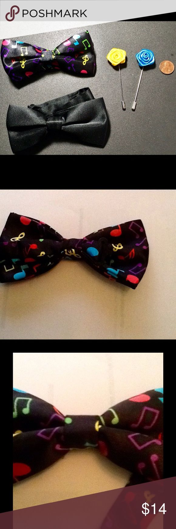 2 Youth Bow Ties with Lapel Flower New Chic Colorful Musical Note Design  and a Black Young Man's Bow Tie Adjustable  Neck Strap  Color - Black/ Multi-Color and Black with Blue and Yellow Lapel Flower Pin Matching Sets