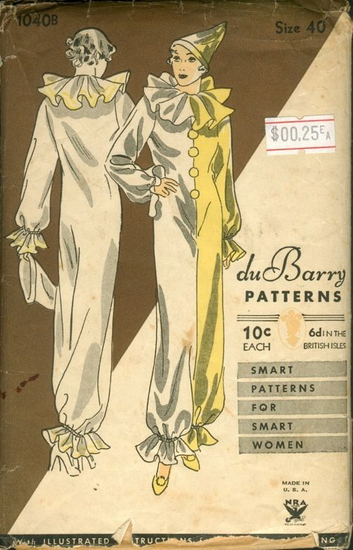 Vintage early 1930s duBarry Pattern #1040B. Fabulous costume party clown suit, Pierrot or Harlequin pattern.