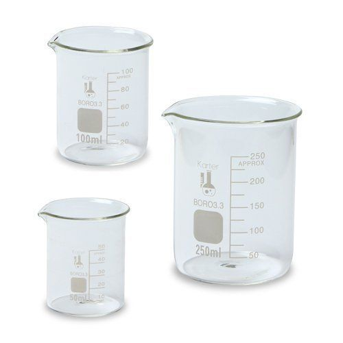 Glass Beaker Set - 3 Sizes - 50, 100 and 250ml, Karter Scientific 214T2 by Karter Scientific, http://www.amazon.co.uk/dp/B008VEHLBI/ref=cm_sw_r_pi_dp_qKp8sb18J422J