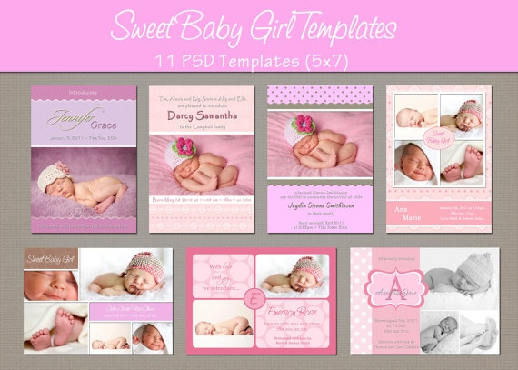 17 Best images about Newborn Announcements – Baby Girl Birth Announcement Template