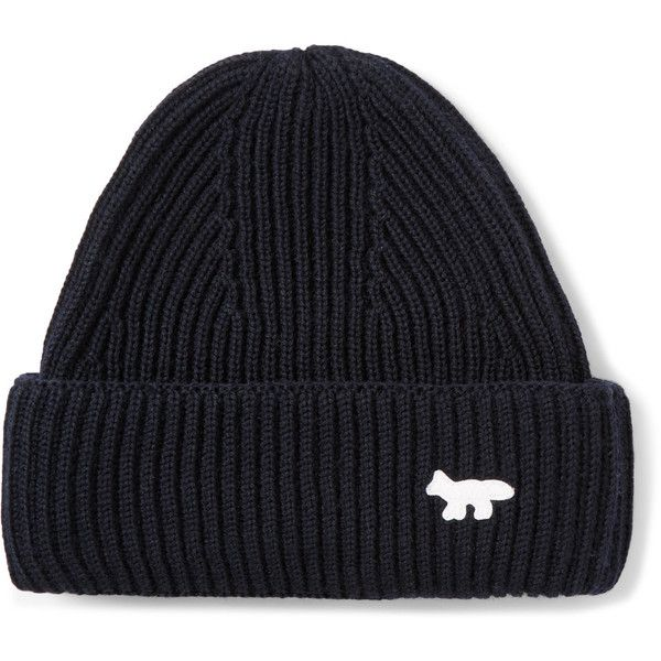 Maison Kitsuné Ribbed-Knit Wool Beanie Hat ❤ liked on Polyvore featuring men's fashion, men's accessories, men's hats, mens wool hats and mens beanie hats