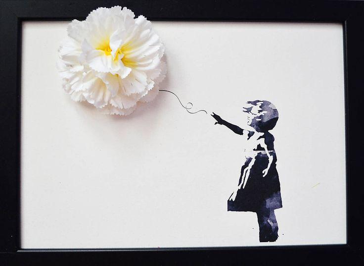 Obrazy - Banksy dievča s balónom/3D obraz/kvetinové umenie - 7167274_