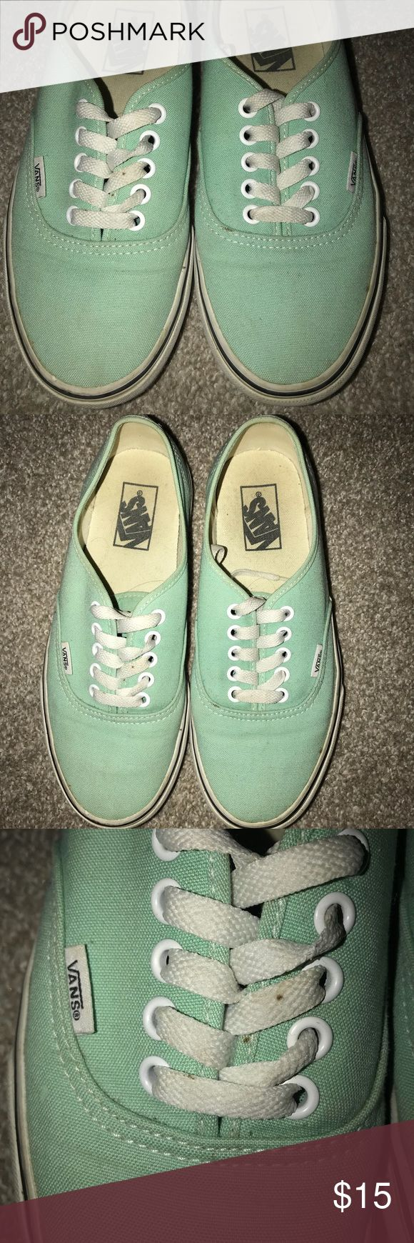 Mint Green Vans Mint green Vans  Size 7 MENS and 8.5 WOMENS worn condition but can be cleaned up Still cute and comfy! Vans Shoes Sneakers