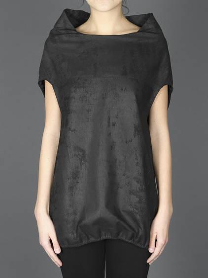 Rick Owens High Collar  Leather T-Shirt