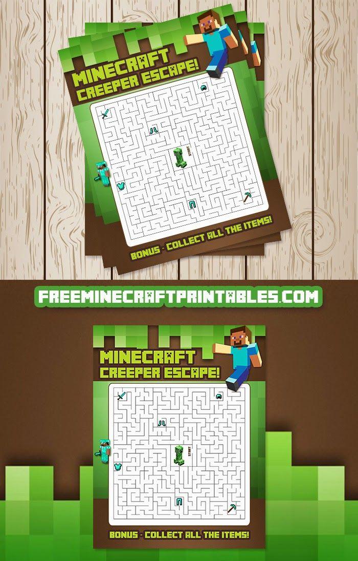 Free Minecraft Printables: Free Printable Minecraft Maze. elementary. lifeskills. logic. worksheet. fun.